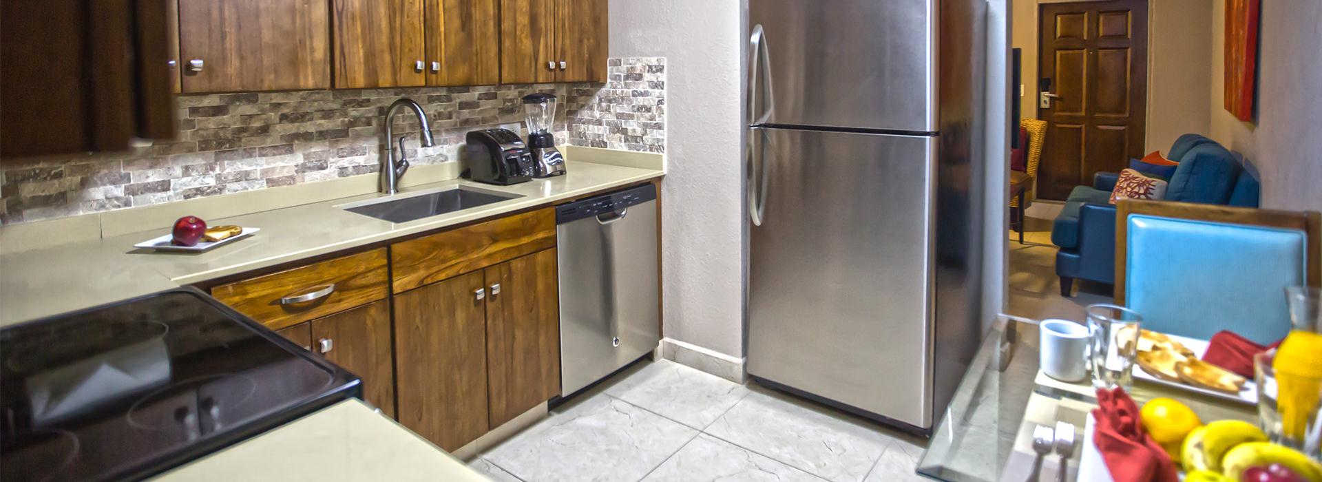 simpson bay beach resort kitchen in suite